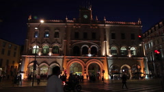 Rossio Railway Station In Lisbon at night time-lapse Stock Footage