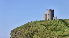 View of the Cliffs of Moher Castle, Ireland Stock Footage