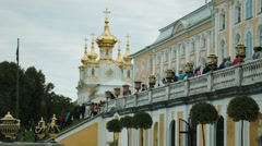 View of Grand Palace in Peterhof Russia Stock Footage