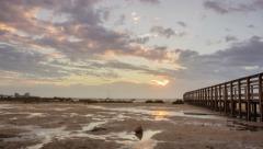 4K Dawn to sunrise 90º Pan Time Lapse seascape Stock Footage