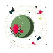 Teapot illustration vector fantasy - stock illustration