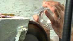 Carving Waterford Crystal at the Crystal Factory, Waterford, Ireland Stock Footage