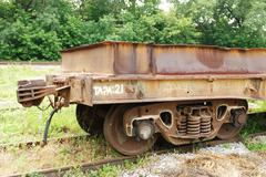 dirty and old industrial wagon - stock photo