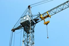 Tower crane with a cabin Stock Photos