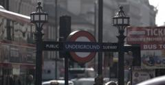 4k View of London Undergound Sign Stock Footage