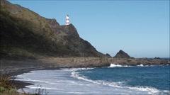 Cape Palliser lighthouse, North Island, N.Z. Stock Footage