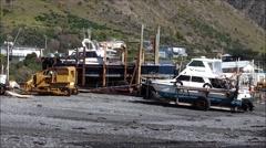 Beaching a fishing boat at Ngawi, New Zealand. Stock Footage