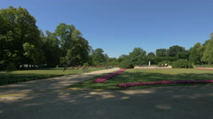 Symmetrical and elaborate flower arrangements in Lazienki Park, Warsaw Stock Footage