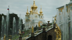 Grand Cascade and Cathedral in Peterhof Russia Stock Footage