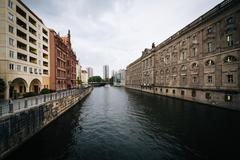 The River Spree, in Mitte, Berlin, Germany. - stock photo