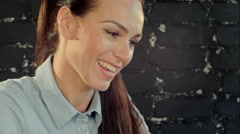 Smiling Businesswoman in the office on video conference, Skype Stock Footage