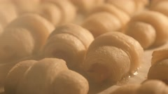 Dough rolls baking in the oven close-up tilt 4K 2160p 30fps UltraHD footage - Stock Footage