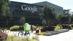 Google headquaters visitors Stock Footage