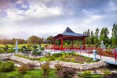 Japanese garden in Almaty Stock Photos