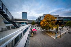 Autumn color and buildings at Alexanderplatz, in Mitte, Berlin, Germany. - stock photo