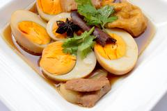 "Egg Stewed Pork, ""Kai Plo Hmo "" thailand food - stock photo"