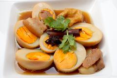 """Egg Stewed Pork, """"Kai Plo Hmo """" thailand food - stock photo"""