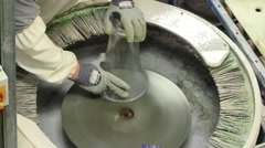 Polishing crystal at the Waterford Crystal Factory, Ireland Stock Footage