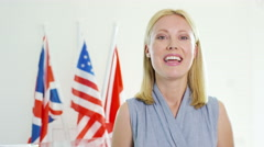 4K International businesswoman or politician doing live piece to camera in offic - stock footage