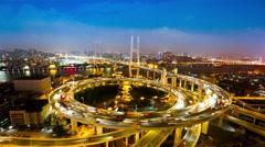 4K time lapse: Shanghai Nanpu Bridge,a spiral bridge at night Stock Footage