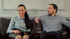 Happy couple on therapy session with family psychologist Stock Footage