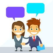 Business Couple Man and Woman Handshake Talking Discussing - stock illustration