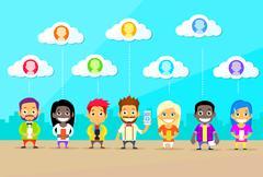 Cartoon Man and Woman People Group Use Smart Phones Internet Communication Stock Illustration