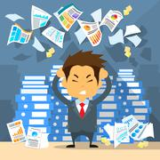 Business Man Throw Papers Hold Hands on Temples Head, Concept of Stressed - stock illustration
