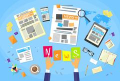 Stock Illustration of News Editor Desk Workspace, Concept Making Newspaper Creating Article Writing