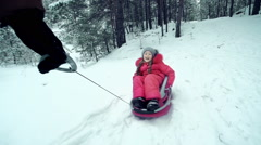 Snow Day Sledging Stock Footage