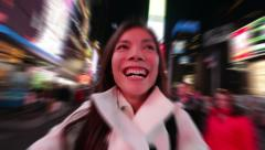 Selfie happy woman tourist in New YorkTimes Square in New York City Stock Footage