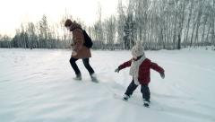 Learning How to Snowskate Stock Footage