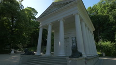 Beautiful Temple of Diana (Temple of the Sibyl) in Lazienki Park, Warsaw Stock Footage