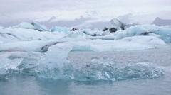 Jokulsarlon lagoon glacial lake icebergs Iceland Stock Footage