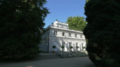 Beautiful view of the Little White House in Lazienki Park, Warsaw Stock Footage