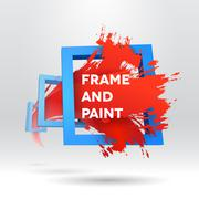 3D template with out of frame brush stroke Stock Illustration