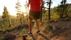 Running man trail runner in cross-country run Stock Footage