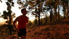 Running runner man athlete training outdoors exercising Stock Footage