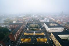 Stock Photo of Foggy view from the tower of the Church of Our Saviour, in Christianshavn, Co