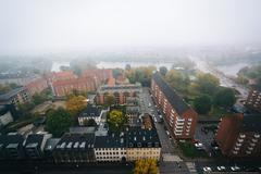 Foggy view from the tower of the Church of Our Saviour, in Christianshavn, Co - stock photo