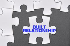 Stock Photo of jigsaw puzzle written word built relationship