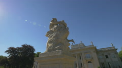 Hermaphroditus and Salmacis statue in front of Lazienki Palace, Stock Footage