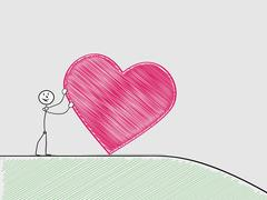 Stock Illustration of man rolling a heart from hill