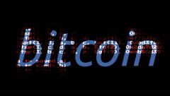 Bitcoin code mask blue crypto Stock Footage