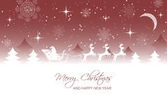 Christmas landscape, santa on sleigh with reindeer. Stock Illustration