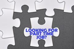 Jigsaw puzzle written word looking for part time job Stock Photos