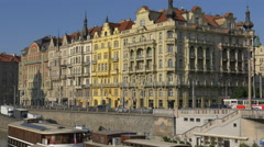 A row of old buildings in Prague Stock Footage