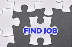 jigsaw puzzle written word find job - stock photo