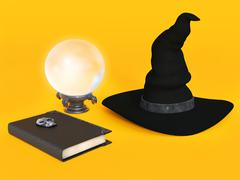 Witch hat, spell book and crystal ball. - stock illustration