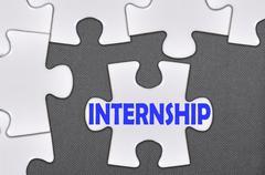 jigsaw puzzle written word internship - stock photo